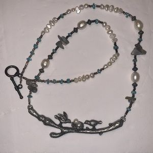 Pewter, Pearl & Stone Necklace. NWOT